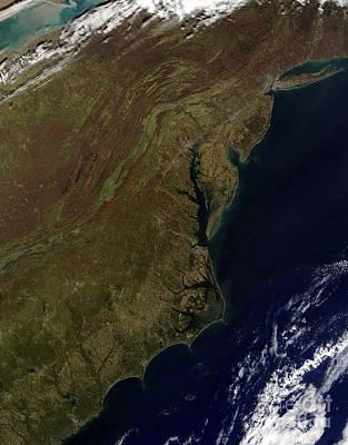 Landmass Photograph - Satellite View Of The Mid-atlantic by Stocktrek Images