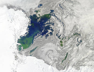 Satellite View Of The Ross Sea Print by Stocktrek Images