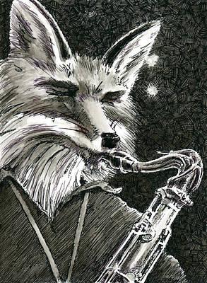 Sax Fox Print by Scott Alberts