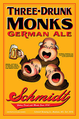 English Ale Drawing - Schmidt Three Drunk Monks by John OBrien