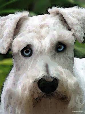 Animal Lover Digital Art - Schnauzer Art - Smokey by Sharon Cummings