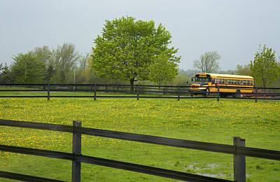 School Bus In A Field In Rural Ontario Print by Marlene Ford
