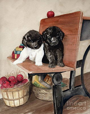 Newfoundland Puppy Painting - School Days by Nancy Patterson