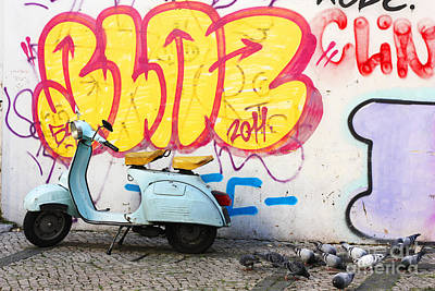 Scooter And Graffiti Print by Manuel Fernandes