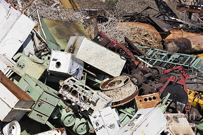 Scrap Metal Yard Photograph - Scrap Metal In Scrap Yard by Jeremy Woodhouse