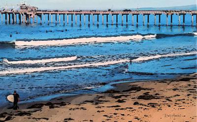 Waves Painting - Scripps Pier La Jolla Surfing by Russ Harris