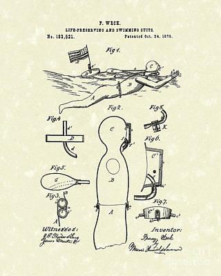 Scuba Diving Drawing - Scuba Suit 1876 Patent Art by Prior Art Design
