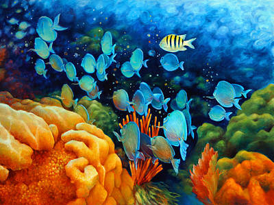 Brain Painting - Sea Escape II - Wayward Fish by Nancy Tilles