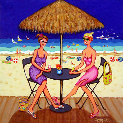 Girlfriends Painting - Sea For Two - Girlfriends At Beach by Rebecca Korpita
