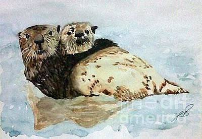 Painting - Sea Otters I. by Paula Steffensen