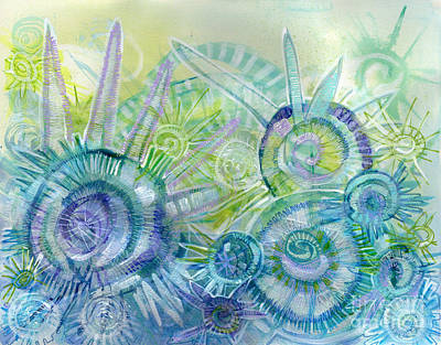 Kiwi Mixed Media - Sea Urchins by Kiki Kelly