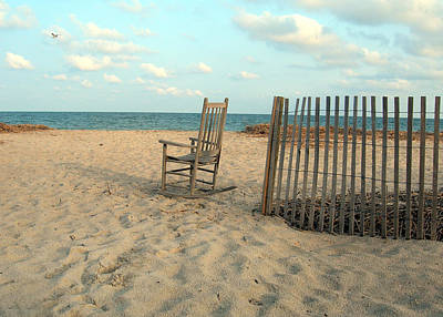 Rocking Chairs Photograph - Seagull by Skip Willits