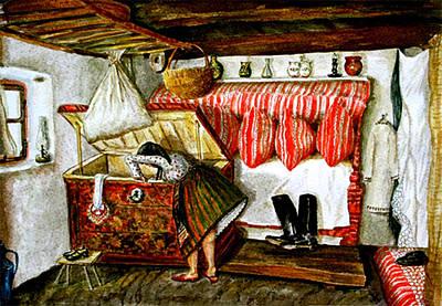 Interior Scene Painting - Searching After Memories by Maria Varga-Hansen