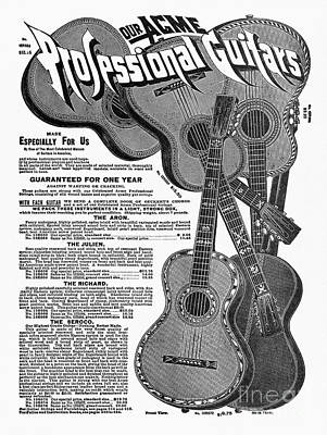 Sears Ad - Guitars 1902 Print by Granger