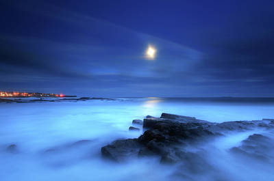 Seascape And Moonrise Print by Angus Clyne