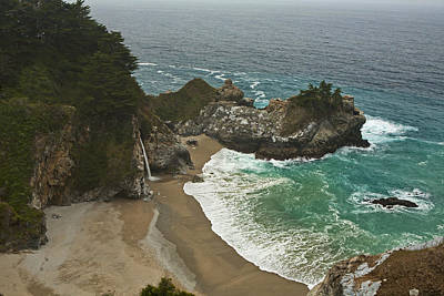 Seascape And Waterfall At Julia Pfeiffer Burns State Park Print by Gregory Scott