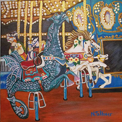 Seaside Heights Carousel Print by Norma Tolliver