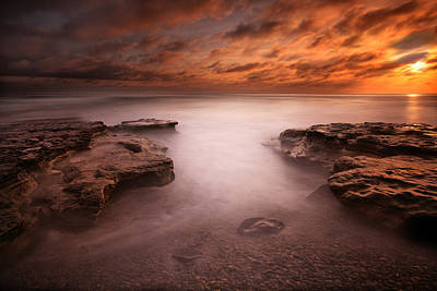 Long Exposure Photograph - Seaside Reef Sunset 3 by Larry Marshall