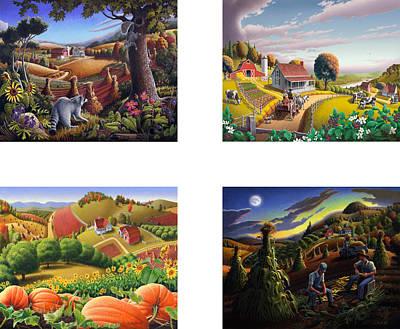 seasonal farm country folk art-set of 4 farms prints amricana American Americana print series Print by Walt Curlee
