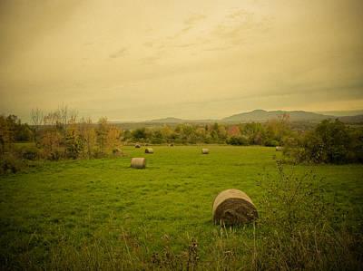 Season's End. Golden Hay Rolls In A Farmer's Field Print by Chantal PhotoPix