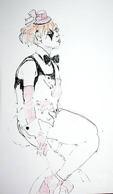 Eye Lashes Drawing - Seated Lady Clown by Joanne Claxton