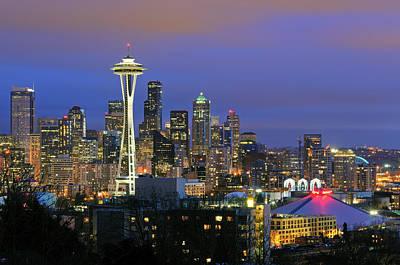 Seattle Skyline Print by Tom Schwabel