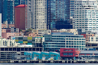Seattle Waterfront Piers And Condos In Downtown Seattle Wa Print by Andy Smy