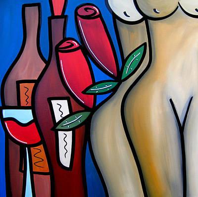 Secret - Nude Wine Art By Fidostudio Print by Tom Fedro - Fidostudio