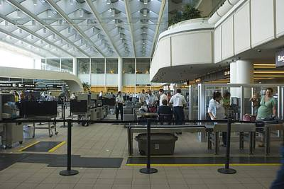 Terrorism Photograph - Security Area At Orlando Airport Florida by Mark Williamson