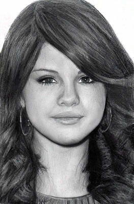Nats Drawing - Selena Gomez by Nat Morley