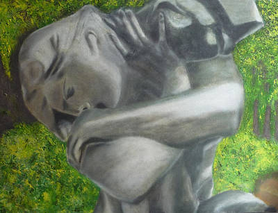 Satue Painting - Self-embrace After Rodin by Ernesto Esposito