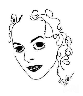 Drake Drawing - Self-portrait Caricature by Barbara Drake