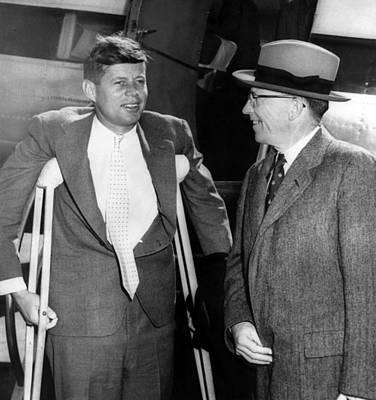 Senator John F. Kennedy, On Crutches Print by Everett