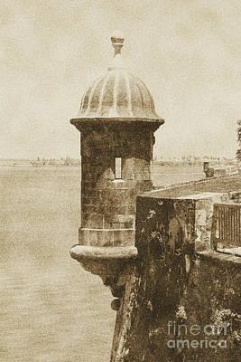 Puerto Rico Digital Art - Sentry Tower Castillo San Felipe Del Morro Fortress San Juan Puerto Rico Vintage by Shawn O'Brien