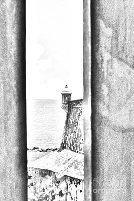 Sentry Tower View Castillo San Felipe Del Morro San Juan Puerto Rico Black And White Line Art Print by Shawn O'Brien