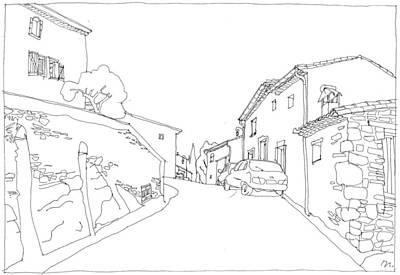 Paper Drawing - Serignac 13 by Leonid Petrushin