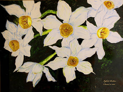 Nature Painting - Seven Daffodils by Itzhak Richter