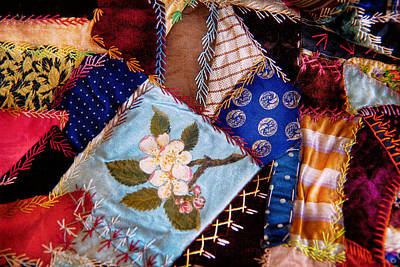 Fabric Quilt Photograph - Sewing - Patchwork - Grandma's Quilt  by Mike Savad