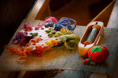 Sewing - Yarn - Threads Of Time Print by Mike Savad