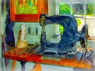 Sewing Machine In Harness Room Print by Susan Savad