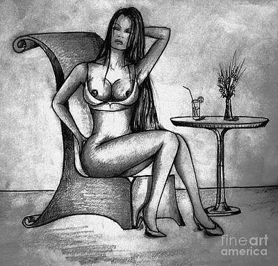 Boobies Drawing - Sexy Girl Posing by Dejan Jovanovic