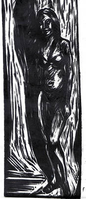 Lino Cut Painting - Shade Of Her by Ertan Aktas
