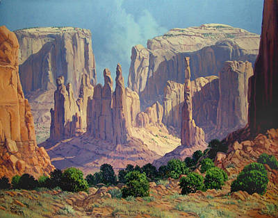 Totem Pole Painting - Shadows In The Valley by Randy Follis