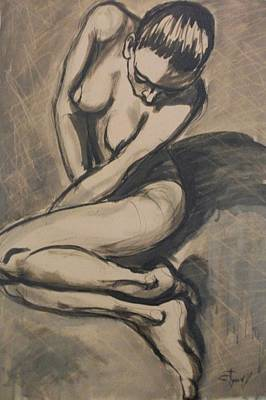 Sepia Ink Drawing - Shadows On The Sand1 - Nudes Gallery by Carmen Tyrrell
