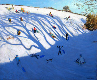 Winter Fun Painting - Shandows On A Hill Monyash by Andrew Macara