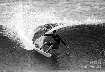 Shane Surf Carving In Black And White Print by Paul Topp