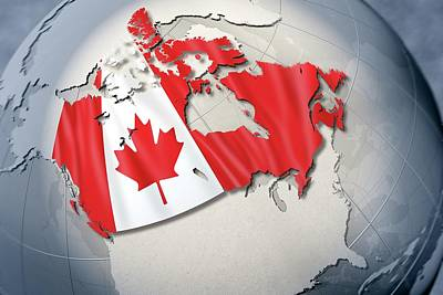 Shape And Ensign Of Canada On A Globe Print by Dieter Spannknebel
