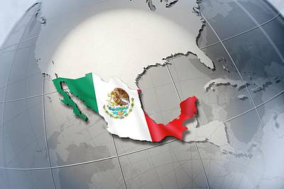 Shape And Ensign Of Mexico On A Globe Print by Dieter Spannknebel