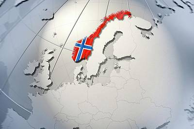 Shape And Ensign Of Norway On A Globe Print by Dieter Spannknebel