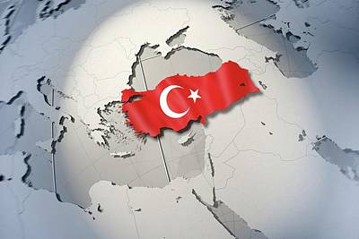Shape And Ensign Of Turkey On A Globe Print by Dieter Spannknebel